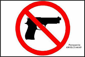The graphic of a gun with a slash through it to represent that concealed weapons are not allowed on NLU campuses.